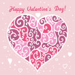 Vector heart with curl ornament illustration for Valentine's Day — Vettoriale Stock