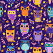 Cute owls vector seamless pattern. — Stock Vector #38091071