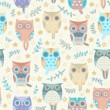Cute owls vector seamless pattern. — Stock Vector #38091087