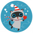 Vector cat character in striped scarf and cap with heart. — Stock Vector #38091647