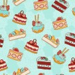Cakes slices vector seamless pattern. — Stock Vector #38091797