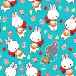 Vector seamless pattern with cute rabbits. — Stock Vector