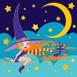 Little witch and cat flying illustration. — Stock Vector
