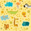 African cartoon animal vector seamless pattern. — Stock Vector