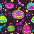 Stock vektor: Halloween pumpkins seamless vector pattern.