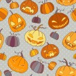 Halloween pumpkins seamless vector pattern. — Stockvector