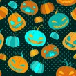 Halloween pumpkins seamless vector pattern. — Vector de stock