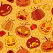 图库矢量图片: Halloween pumpkins seamless vector pattern.