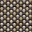 Stock Vector: Cartoon skull vector seamless pattern.