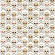 Cartoon skull vector seamless pattern. — Stock Vector