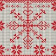 Stock Vector: Vector knitted pattern with snowflake.