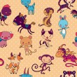 Chinese zodiac animals vector seamless pattern. — Stock Vector #38096565