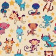 Chinese zodiac animals vector seamless pattern. — Stock Vector #38096575