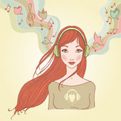 Young woman with headphones vector illustration. — Stockvektor