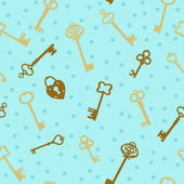 Keys and heart-shaped lock seamless vector pattern. — Stockvektor