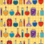 Alchemy laboratory equipment vector seamless pattern. — Stockvector
