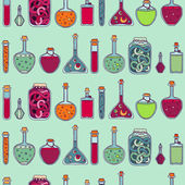Alchemy laboratory equipment vector seamless pattern. — ストックベクタ