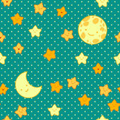 Moon and star vector seamless pattern. — Stok Vektör