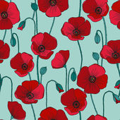 Poppies vector seamless pattern. — Stockvektor
