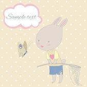 Cute cartoon rabbit with net vector illustration. — Stock Vector