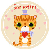 Vector striped cat character in high-hat with heart. — Stock Vector