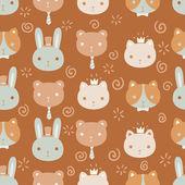 Cute pet vector seamless pattern. — Stock Vector