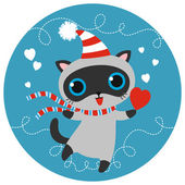 Vector cat character in striped scarf and cap with heart. — Stock vektor