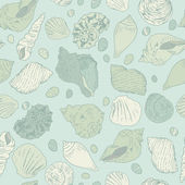 Seashells seamless vector pattern. — Vettoriale Stock