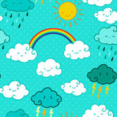 Child drawing style rainbow and clouds seamless vector pattern. — Stock Vector
