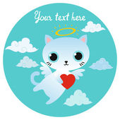 Vector white angel cat character with heart. — Stock Vector