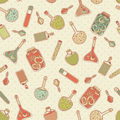 Alchemy laboratory equipment vector seamless pattern. — Stok Vektör