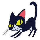 Cartoon schwarze Katze isoliert-Vektor-illustration. — Stockvektor