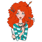 Isolated vector illustration of red haired young woman. — Stock Vector