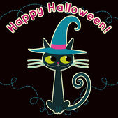 Tarjeta de vector de dibujos animados gato negro. — Vector de stock