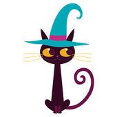 Cartoon black cat isolated vector illustration. — Stock Vector