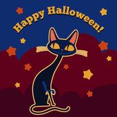 Cartoon black cat vector card. — Stock Vector