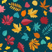 Autumn leaves vector seamless pattern. — Stock Vector