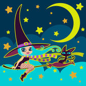 Little witch and black cat on a broom vector illustration. — Stock Vector