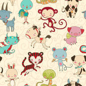 Chinese zodiac animals vector seamless pattern. — Stock Vector