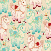 Toy horse vector seamless pattern. — Stock Vector