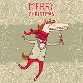 圣诞、 新年贺卡与马图. — 图库矢量图片