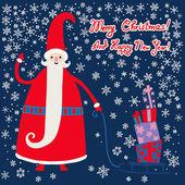Christmas,New Year greetings card with Santa. — Stock Vector