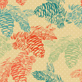 Vector seamless pattern with pine cone. — ストックベクタ