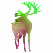 Watercolor-style vector deer silhouette — Stock Vector
