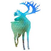 水彩画式矢量鹿剪影 — 图库矢量图片