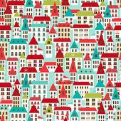 Cartoon city panorama vector seamless pattern. — Stock Vector