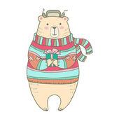 Illustrazione di cartone animato di orso. — Vettoriale Stock