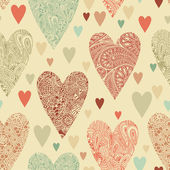 Vector seamless pattern with hearts. — Vector de stock