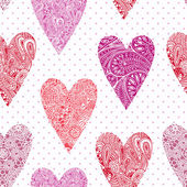 Vector seamless pattern with hearts. — Stock Vector