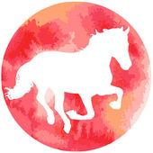 Horses silhouette vector illustration, with watercolor texture. — Stock Vector